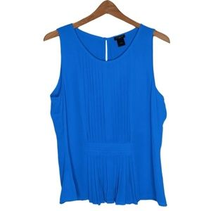 Ann Taylor Blue Pintuck Sleeveless Blouse 12